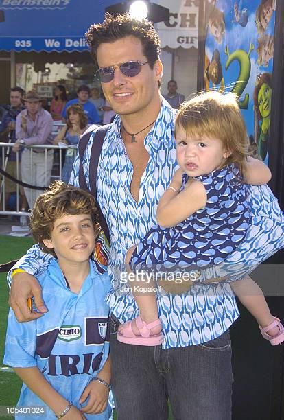 Antonio Sabato Jr son Jack and daughter Mina during 'Shrek 2' Los Angeles Premiere Green Carpet at Mann Village Theatre in Westwood California United...