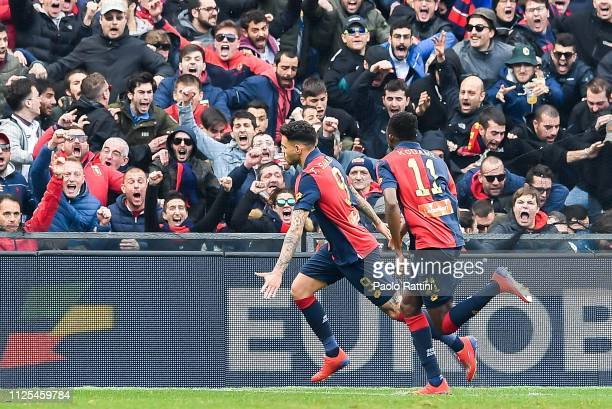 Antonio Sanabria of Genoa celebrates with his teammate Christian Kouamé of Genoa after scoring a goal during the Serie A match between Genoa CFC and...