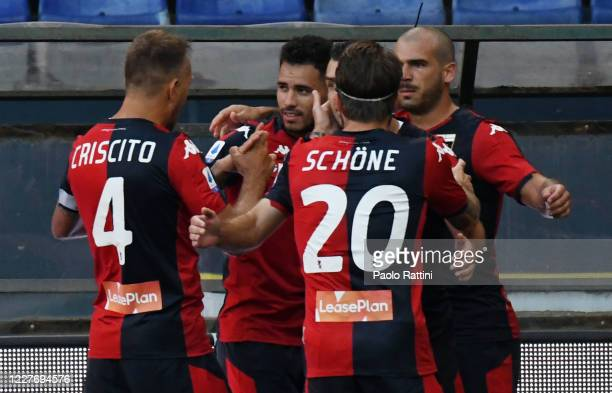 Antonio Sanabria of Genoa CFC celebrate with team-mates after score his first goal during the Serie A match between Genoa CFC and US Lecce at Stadio...