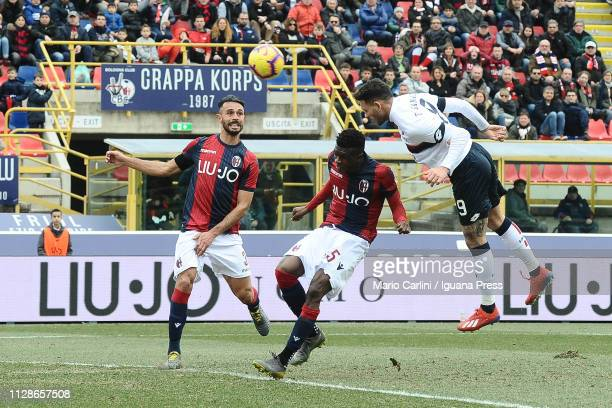 Antonio Sanabria of Genoa CFC heads the ball towards the goal during the Serie A match between Bologna FC and Genoa CFC at Stadio Renato Dall'Ara on...