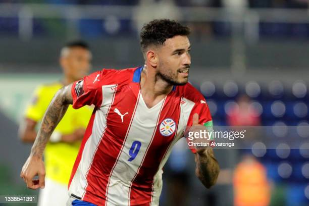 Antonio Sanabria of Paraguay celebrates after scoring the first goal of his team during a match between Paraguay and Colombia as part of South...