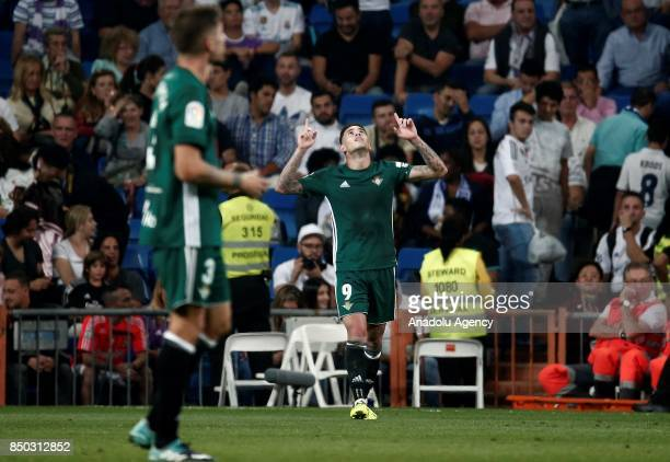 Antonio Sanabria of Real Betis celebrates his goal during the Spanish La Liga match between Real Madrid and Real Betis at Santiago Bernabeu Stadium...
