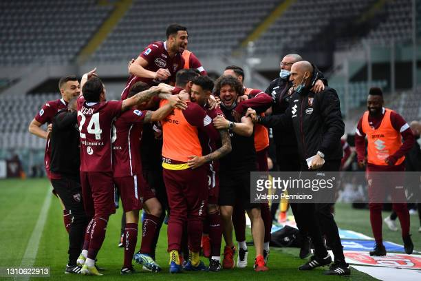 Antonio Sanabria of Torino F.C. Celebrates with teammates after scoring their team's second goal during the Serie A match between Torino FC and...