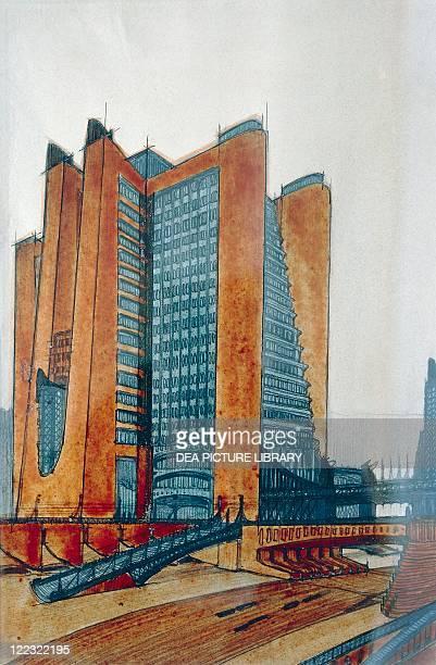 Antonio Sant'Elia The New City Study watercolor on paper Futurism