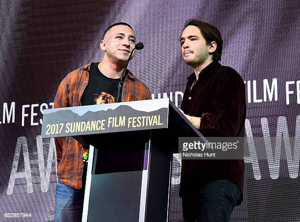 Antonio Santini and Dan Sickles accept the US Documentary Grand Jury Prize for their movie 'Dina' during the 2017 Sundance Film Festival Awards Night...