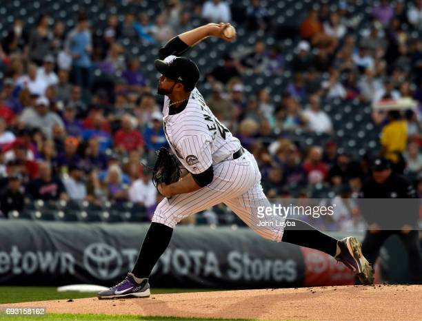 Antonio Senzatela delivers a pitch in the firs tinning against the Cleveland Indians on June 6 2017 in Denver Colorado at Coors Field