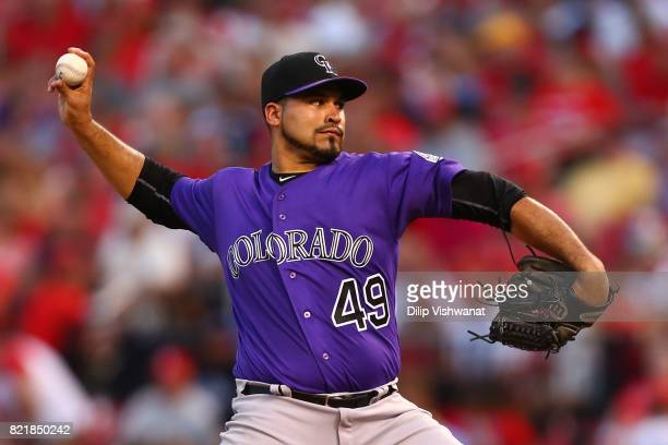 Antonio Senzatela of the Colorado Rockies delivers a pitch against the St Louis Cardinals in the third inning at Busch Stadium on July 24 2017 in St...
