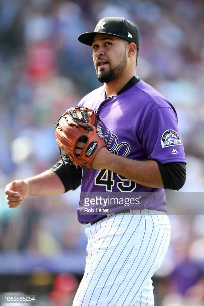 Antonio Senzatela of the Colorado Rockies looks on during the game against the Philadelphia Phillies at Coors Field on September 27 2018 in Denver...