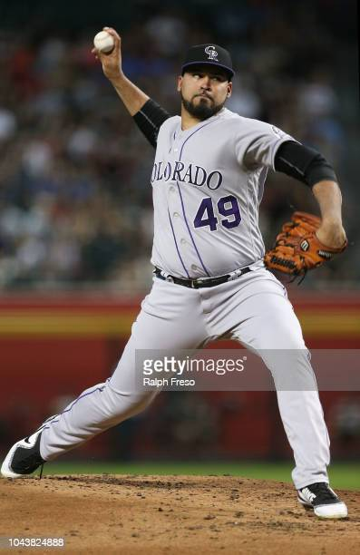 Antonio Senzatela of the Colorado Rockies pitches against the Arizona Diamondbacks during the first inning of an MLB game at Chase Field on September...