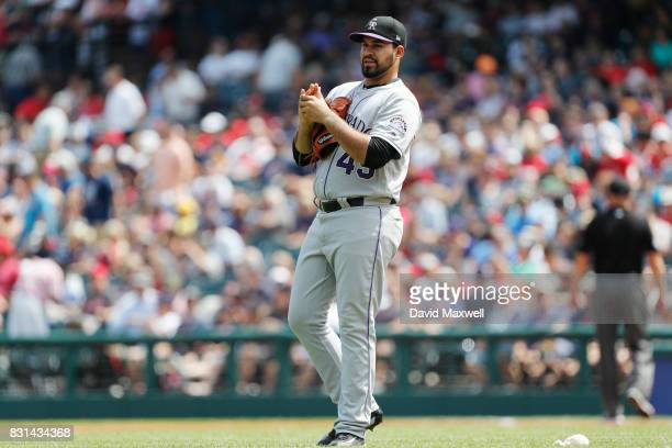 Antonio Senzatela of the Colorado Rockies pitches against the Cleveland Indians in the first inning at Progressive Field on August 9 2017 in...