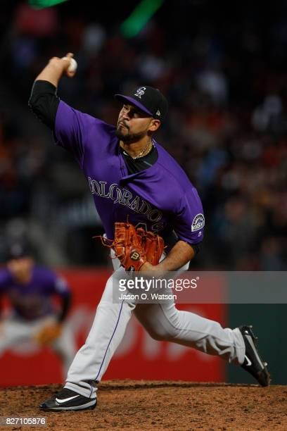 Antonio Senzatela of the Colorado Rockies pitches against the San Francisco Giants during the fifth inning at ATT Park on June 26 2017 in San...