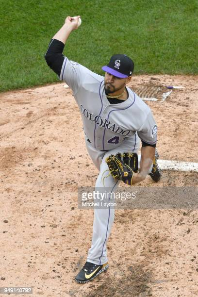 Antonio Senzatela of the Colorado Rockies pitches during a baseball game against the Washington Nationals at Nationals Park on April 15 2018 in...