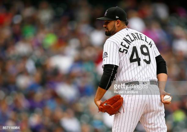 Antonio Senzatela of the Colorado Rockies pitches during a regular season MLB game between the Colorado Rockies and the visiting Los Angeles Dodgers...