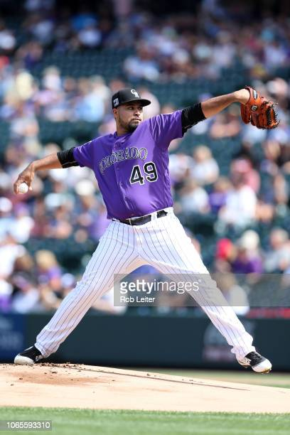 Antonio Senzatela of the Colorado Rockies pitches during the game against the Philadelphia Phillies at Coors Field on September 27 2018 in Denver...