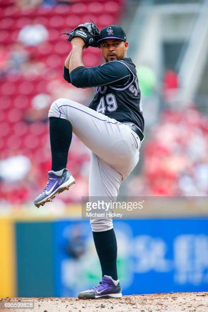 Antonio Senzatela of the Colorado Rockies pitches during the game against the Cincinnati Reds at Great American Ball Park on May 20 2017 in...