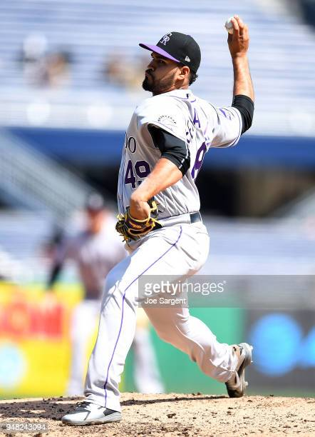 Antonio Senzatela of the Colorado Rockies pitches during the seventh inning against the Pittsburgh Pirates at PNC Park on April 18 2018 in Pittsburgh...