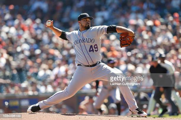 Antonio Senzatela of the Colorado Rockies pitches in the first inning against the San Francisco Giants at ATT Park on September 16 2018 in San...