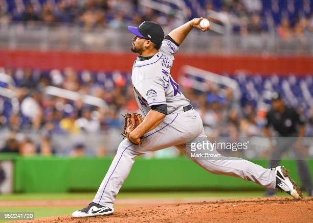 Antonio Senzatela of the Colorado Rockies pitches in the second inning against Miami Marlins at Marlins Park on April 27 2018 in Miami Florida