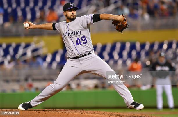 Antonio Senzatela of the Colorado Rockies pitches in the third inning against the Miami Marlins at Marlins Park on April 27 2018 in Miami Florida