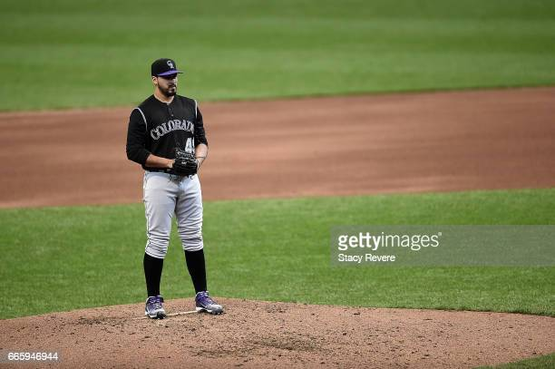 Antonio Senzatela of the Colorado Rockies throws a pitch during a game against the Milwaukee Brewers at Miller Park on April 6 2017 in Milwaukee...