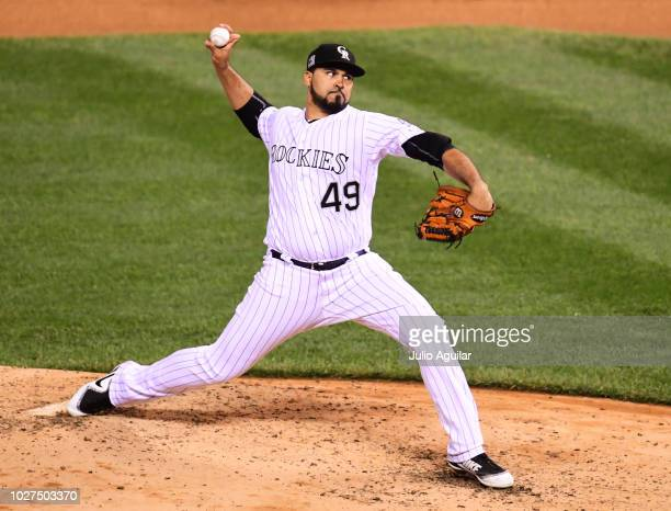 Antonio Senzatela of the Colorado Rockies throws a pitch in the fifth inning in a baseball game against the San Francisco Giants on September 5 2018...