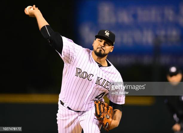 Antonio Senzatela of the Colorado Rockies throws a pitch in the first inning of a baseball game against the San Francisco Giants on September 5 2018...