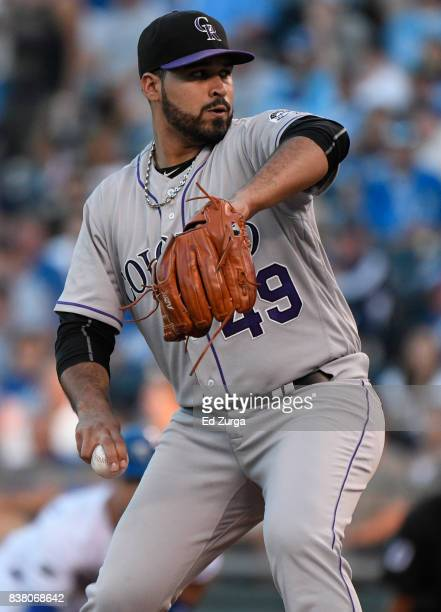 Antonio Senzatela of the Colorado Rockies throws in the first inning against the Kansas City Royals at Kauffman Stadium on August 23 2017 in Kansas...