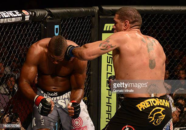 Antonio Silva punches Alistair Overeem during their heavyweight fight at UFC 156 on February 2 2013 at the Mandalay Bay Events Center in Las Vegas...