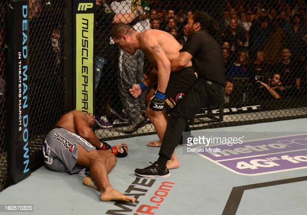 Antonio Silva reacts after his knockout victory over Alistair Overeem during their heavyweight fight at UFC 156 on February 2 2013 at the Mandalay...