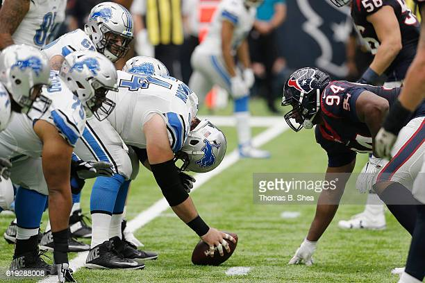 Antonio Smith of the Houston Texans lines up against Travis Swanson of the Detroit Lions in the second quarter at NRG Stadium on October 30, 2016 in...