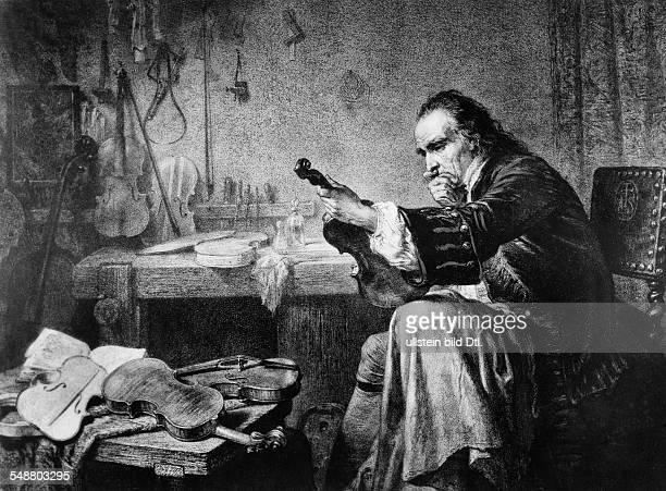 Antonio Stradivari examining an instrument in a Romantic 19thcentury print Musicien crafter of stringed instruments Italian *16441737 reproduction of...