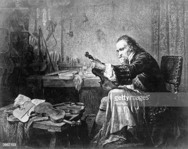 Antonio Stradivari or Stradivaius the Italian violin maker of Cremona circa 1700 Original Artwork From a painting by Hamman Original Publication...