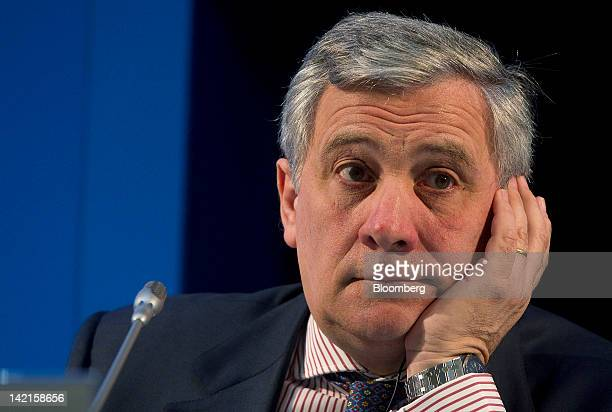 Antonio Tajani european industry commissioner listens during a morning session at the Ambrosetti Workshop in Cernobbio near Como Italy on Saturday...