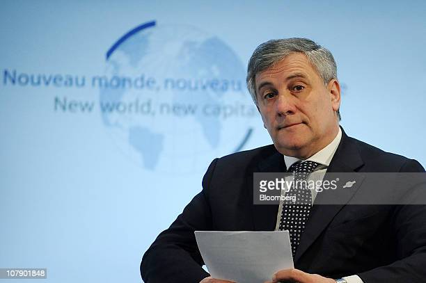 Antonio Tajani european industry commissioner pauses during the New World New Capitalism conference in Paris France on Thursday Jan 6 2011 French...