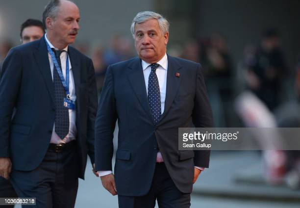 Antonio Tajani President of the European Parliament arrives at an informal summit of leaders of European Union member states on September 19 2018 in...