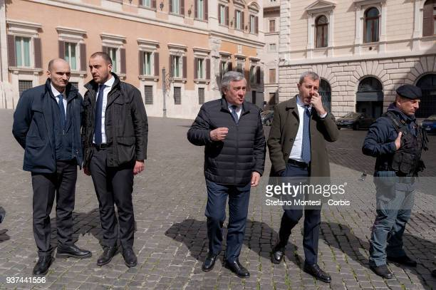 Antonio Tajani President of the European Parliament in front Parlament on March 24 2018 in Rome Italy