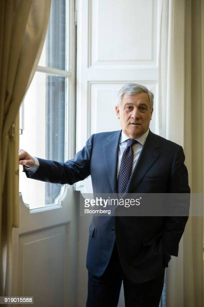Antonio Tajani president of the European Parliament poses for a photograph following a Bloomberg Television interview at his office in Rome Italy on...