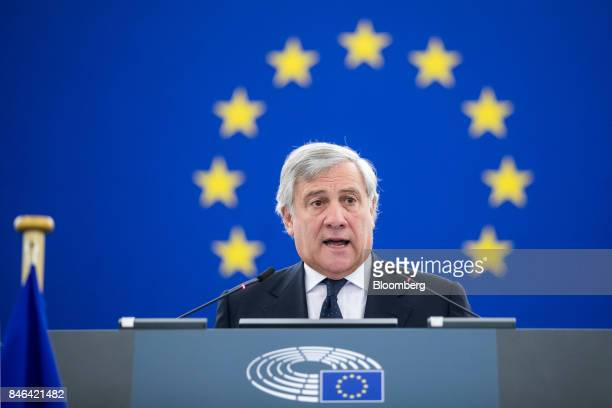 Antonio Tajani president of the European Parliament speaks ahead of the State of the Union speech at the European Parliament in Strasbourg France on...