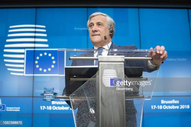 Antonio Tajani president of the European Parliament speaks at a news conference during a European Union leaders Brexit summit in Brussels Belgium on...