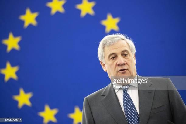 Antonio Tajani president of the European Parliament speaks during a 'Future of Europe' plenary session debate at the European Parliament in...