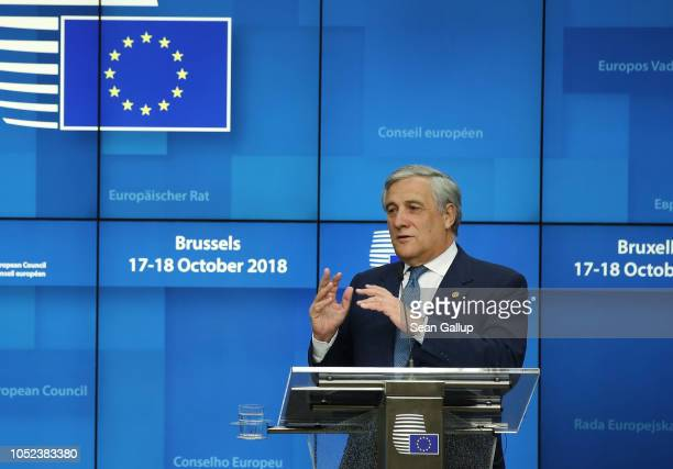 Antonio Tajani President of the European Parliament speaks to the media following a meeting of EU leaders to discuss Brexit at the European Council...