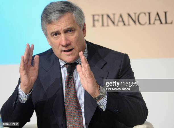 Antonio Tajani vice president of the European Commission responsible for industry and entrepreneurship participates in the Financial Times of London...