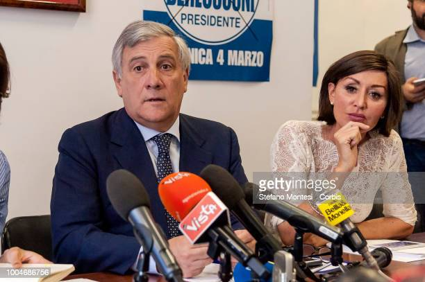 Antonio Tajani vicepresident of Forza Italia Anna Maria Bernini group leader of Forza Italia at the Senate during the press conference of Forza...