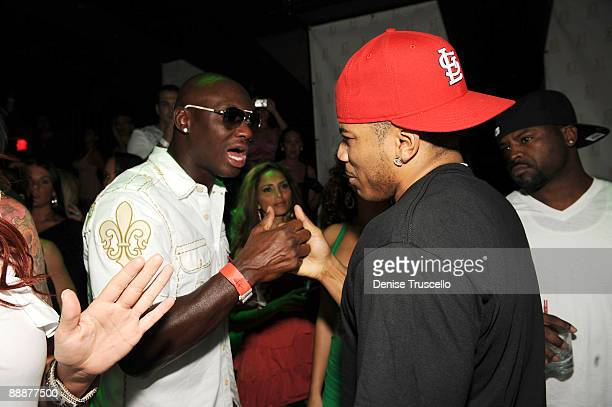 Antonio Tarver and Nelly attend Jet nightclub at The Mirage Hotel and casino Resort on July 6 2009 in Las Vegas Nevada