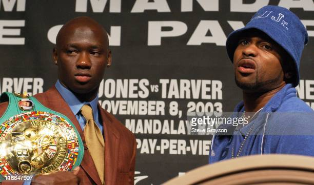 Antonio Tarver and Roy Jones Jr during Roy Jones vs Antonio Tarver Press Conference For World Light Heavyweight Title at Mandalay Bay Hotel in Las...