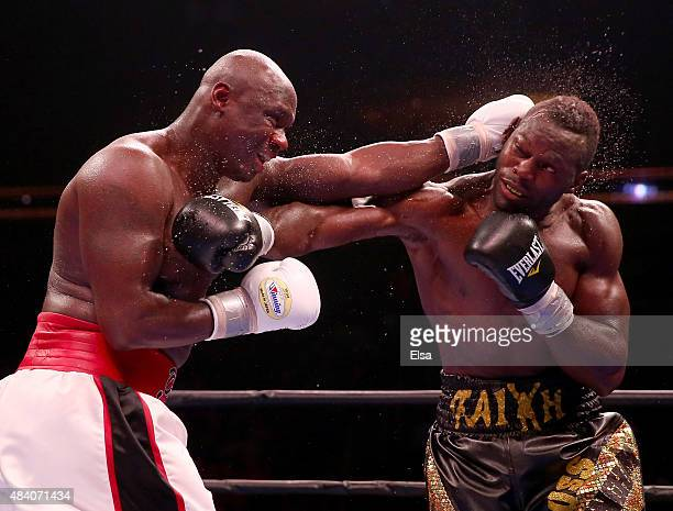 Antonio Tarver and Steve Cunningham exchange punches during the Premier Boxing Champions Heavyweight bout at the Prudential Center on August 14, 2015...