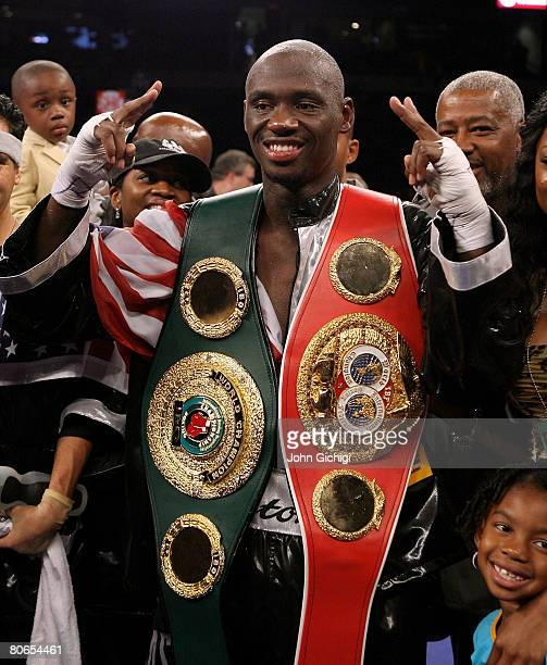 Antonio Tarver celebrates defeating Clinton Woods during the IBO, IBF light-Heavyweight title fight on April 12, 2008 at St. Pete Times Forum, Tampa,...