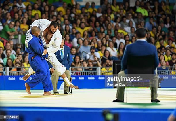Antonio Tenorio of Brazil and Shirin Sharipov of Uzbekistan at semifinal Mens 100kg Judo on day 3 of the Rio 2016 Paralympic Games at the Carioca...