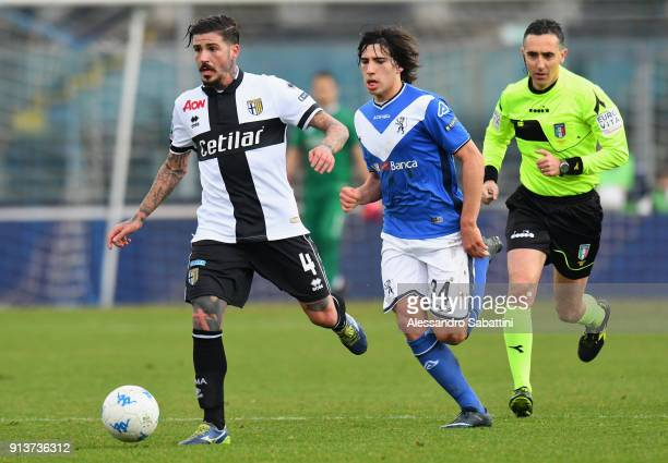 Antonio Vacca of Parma competes for the ball whit Andrea Cistana of Brescia Calcio during the Serie B match between Brescia Calcio and Parma Calcio...