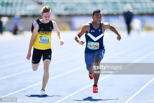 Antonio Vaitohi of Victoria wins his Mens 100m Under 16 final during day five of the Australian Junior Athletics Championships at Sydney Olympic Park...